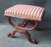 A William IV Rosewood X-framed Dressing Table Stool