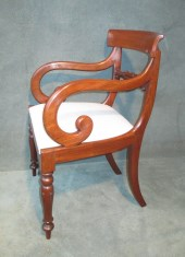 Set Of 6 + 2 Late Georgian Mahogany Scroll Arm Dining Chairs